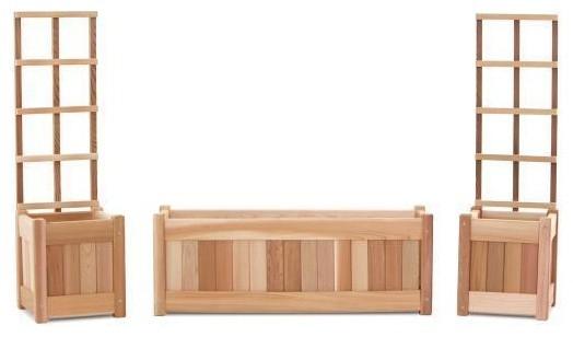 Cedar Planter Set And Trellis