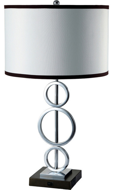 26h 3 Ring Metal Table Lamp, White With Convenient Outlet.