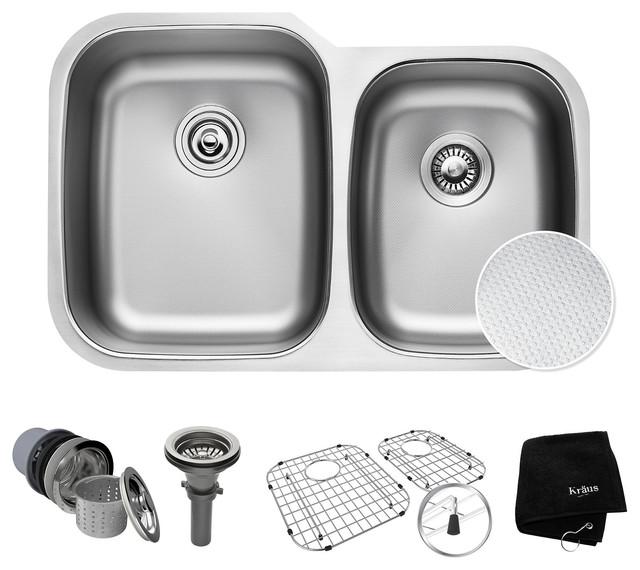 "Kraus 32"" Outlast MicroShield  Scratch-Resist Stainless Steel Double Bowl Sink"