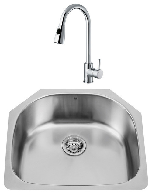 "Vigo All-In-One 24"" Clarkdale Stainless Steel Undermount Sink Set."
