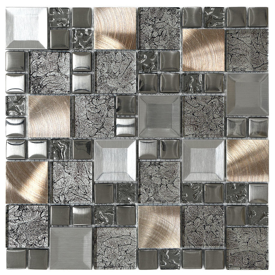 - Glass Metal Mix Mosaic Backsplash Tile - Contemporary - Mosaic Tile - By  Backsplash