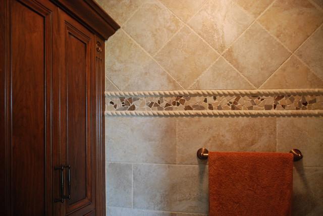 Mosaic Tile Trim Contemporary Bathroom Cleveland
