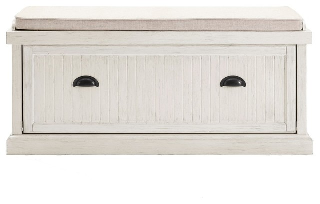 Fantastic Seaside Entryway Bench Distressed White Finish Theyellowbook Wood Chair Design Ideas Theyellowbookinfo