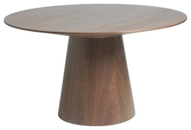 Wesley Round Wood Dining Table In Walnut Modern Dining Tables