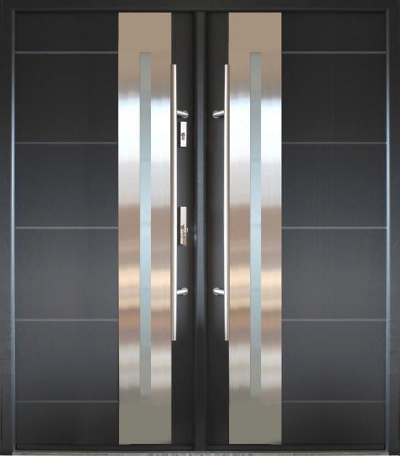 68 X 82 Stainless Steel Exterior Double Door In Grey Finish Reflective Glass Contemporary Front Doors By Ville Doors
