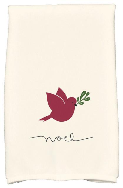 Noel Bird Decorative Holiday Animal Print Hand Towel Cranberry