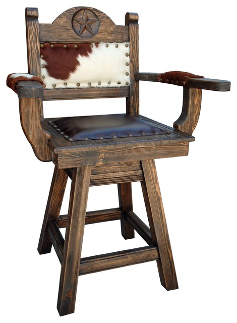 Rancho Collection Texas Western Swivel Stool Arms