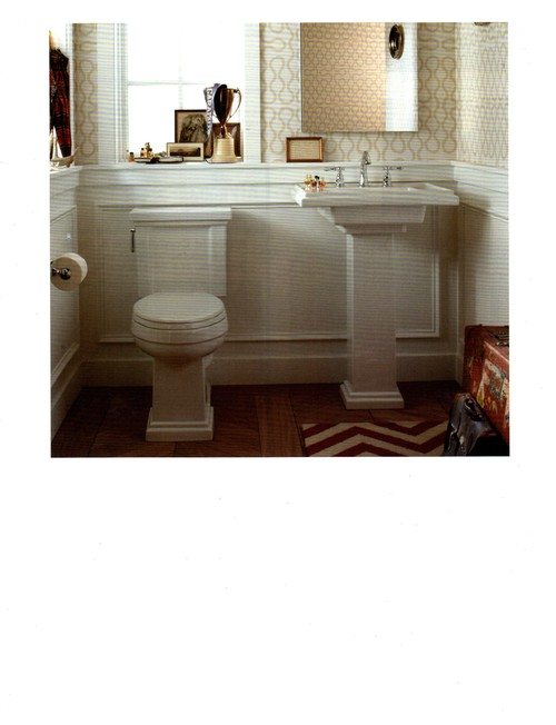 Creme and white bathroom with trellis wallpaper and black for Zig zag bathroom decor