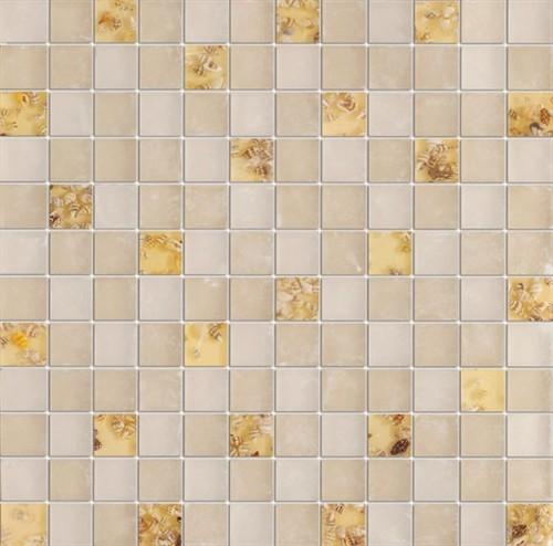 Serene Mother of Pearl Glossy & Matt Square Pattern Glass Mosaic Tiles, Sheet