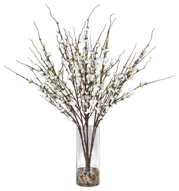 White Spring Blossom Branches Faux Floral Vase Buds Stones Open