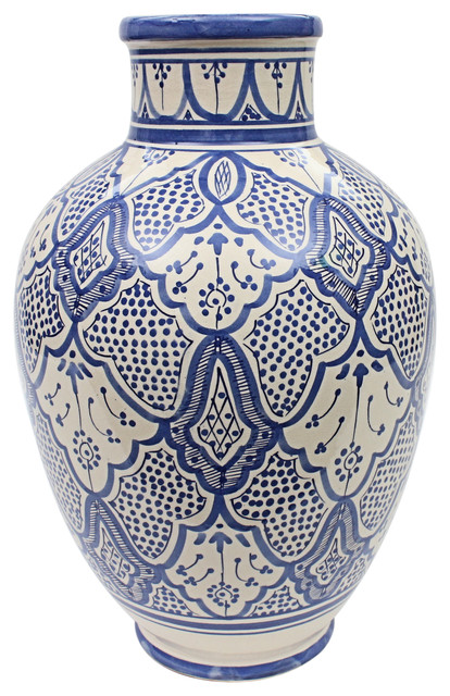 Moroccan Vase Safi Ceramic Blue Handmade Hand Painted, 40 cm