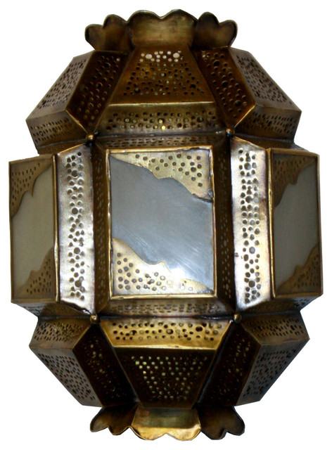 Moroccan Glass Wall Lights : Moroccan Brass Wall Sconce With White Glass - Mediterranean - Wall Sconces - by Badia Design Inc.