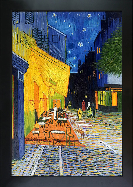 """""""cafe Terrace At Night"""", New Age Black Frame 24""""x36""""."""