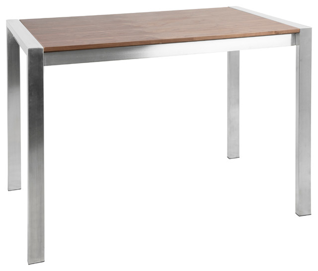 LumiSource Fuji Counter Table, Stainless Steel and Walnut