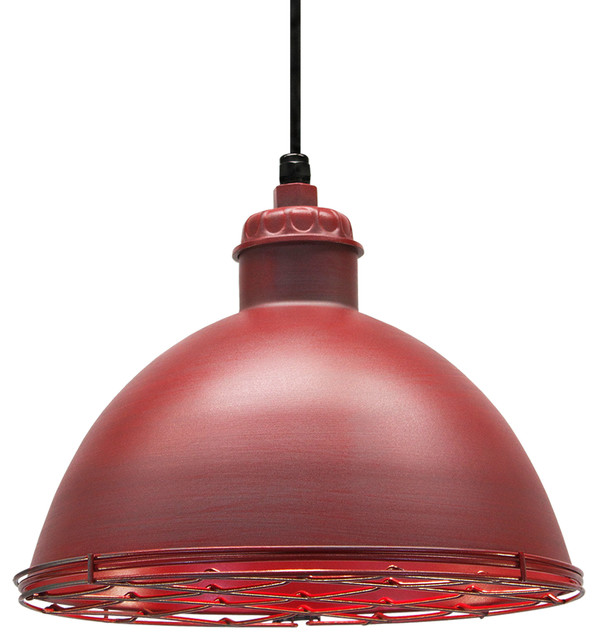 Warehouse Pendant, Distressed Red.