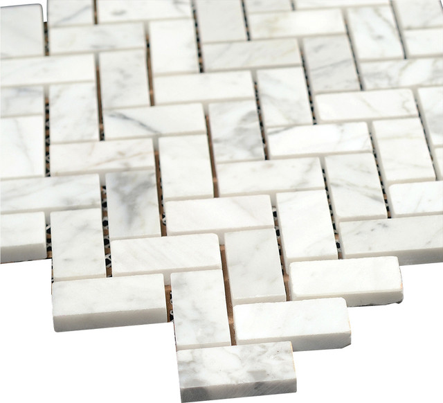 12 X12 Bianco Carrara Polished Marble Herringbone Mosaic Tile