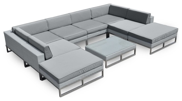 Marseille Outdoor Patio Furniture 9 Piece All Weather Wicker Sofa Sectional  Set