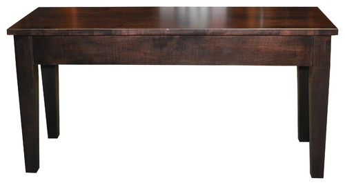 Wooden Piano Bench, Shaker, Storage, Brown Maple Wood, Rich Tobacco Stain, 3'