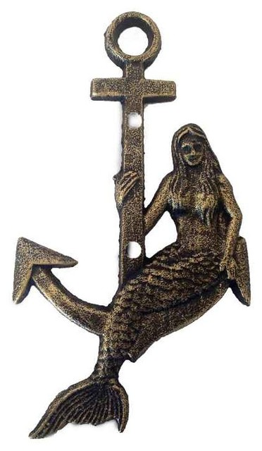 cast iron mermaid anchor metal wall art antique gold beach style