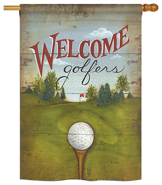 Breeze Decor Welcome Golfers Interests Everyday Sports Impressions Decorative Vertical House Flag 28 Inch X 40 Printed In Usa, Golf Outdoor Decor