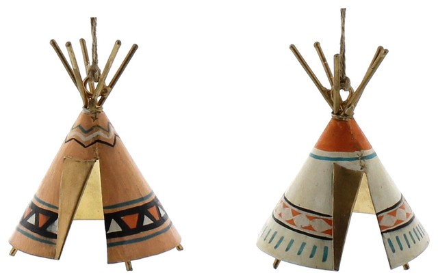 Native American Christmas Ornaments.Bright Colored Teepee Ornament 2 Piece Set Native American Indian Retro