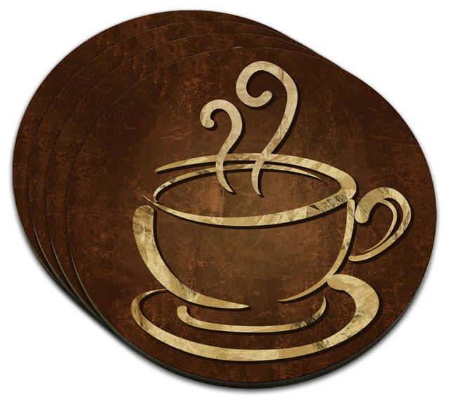 coffee cup mdf wood coaster set of 4 contemporary