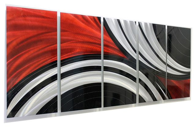 Red, Black and Silver Contemporary Metal Wall Art Sculpture ...