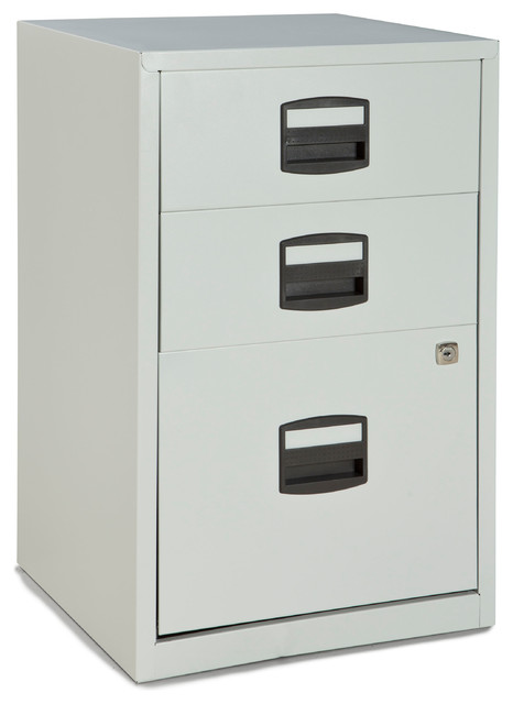 bisley three drawer steel home or office filing cabinet