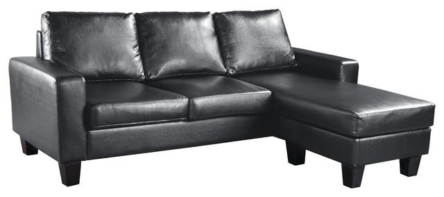 Sensational Ukiah Sofa Faux Leather Chaise Black Machost Co Dining Chair Design Ideas Machostcouk