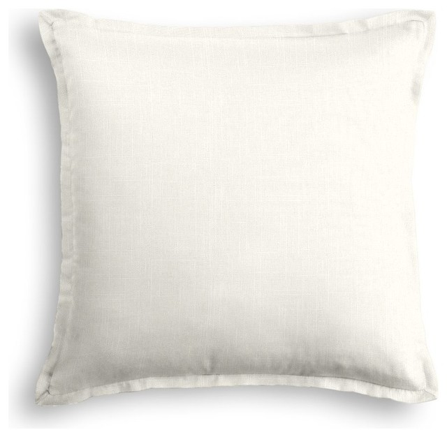 Loom Decor ivory Linen Pillow With Ivory Trim - Decorative Pillows Houzz