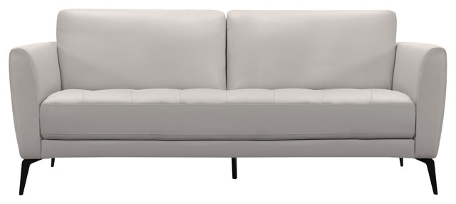 Hope Contemporary Sofa, Genuine Dove Gray Leather With Black Metal Legs.
