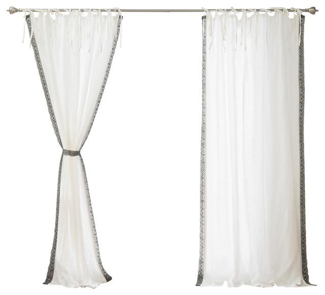 Abelia Belgian Flax Linen Lace Trim Curtain, Ivory Gray.