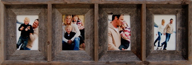 Collage Frames With 4 Openings, Barn Wood, 4x6 - Rustic - Picture ...