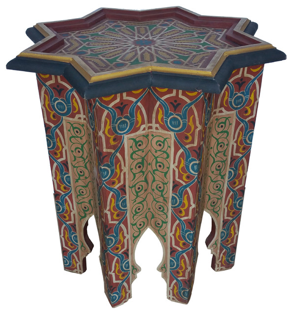 Moroccan Hand Painted Star Shaped Side Table Mediterranean Side Tables And