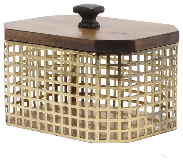 Glenda Octagon Perforated Gold Metal Canister With Walnut Solid Wood Lid Traditional Bathroom Canisters