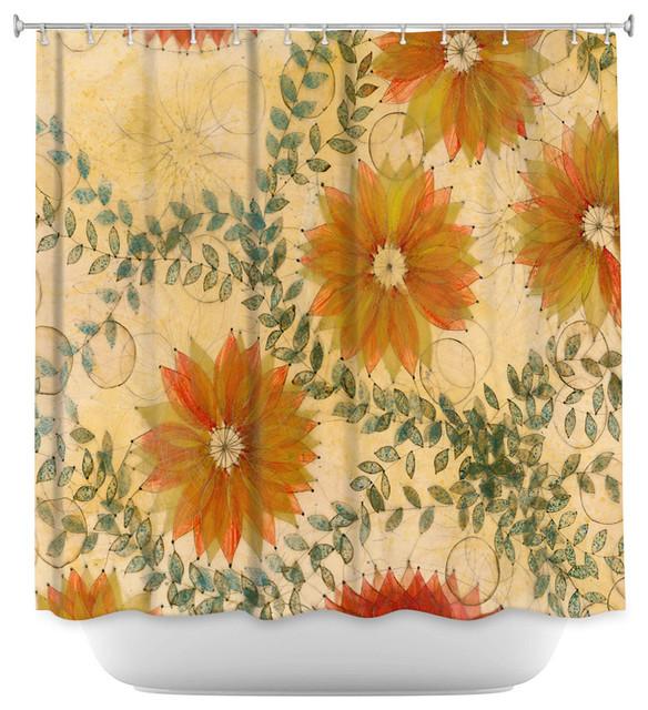 DiaNoche Designs Shower Curtain By Paper Mosaic Studio   Orange Flower  Pattern Contemporary Shower