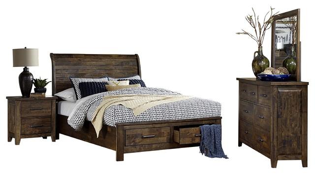 4 Piece Jackson Queen Sleigh Storage Bed Dresser Mirror Nightstand Brown