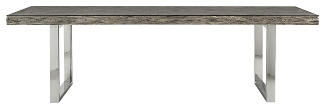Travers Lodge Stainless Steel Rustic Wood Glass Top Dining Table - Reclaimed wood and glass dining table