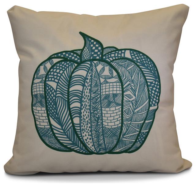"Pumpkin Patch Geometric Print Pillow, Teal, 16""x16""."