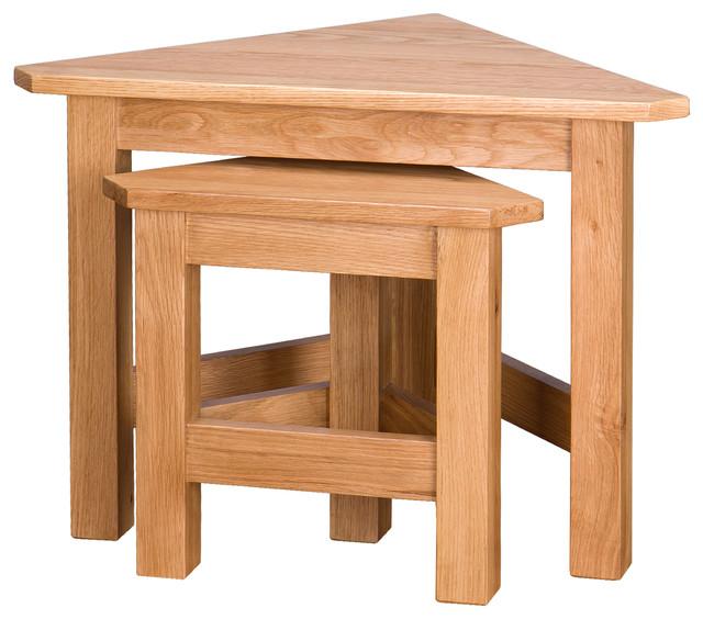 Oak Corner Nesting Tables, Set of 2