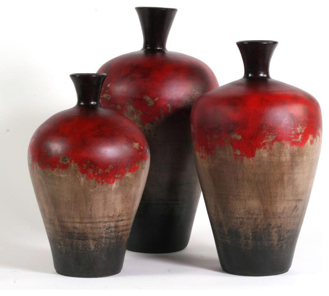 Red Hill Floating Bathroom Vanity By Retrograde Furniture: Cherry Hill Ceramic Vases, Set Of 3