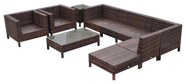 Outsunny 9 Piece Outdoor Patio Rattan Sofa Sectional And Chair Set