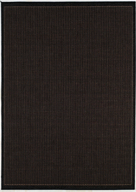 Couristan Recife Saddle Stitch Indoor/outdoor Area Rug, Black/cocoa, 5&x27;3x7&x27;6.