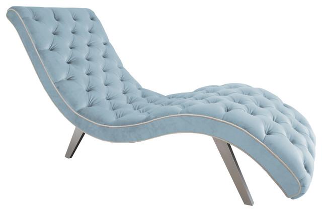 Decenni Tobias Velvet Tufted Chaise Lounge, Wedgewood Blue.