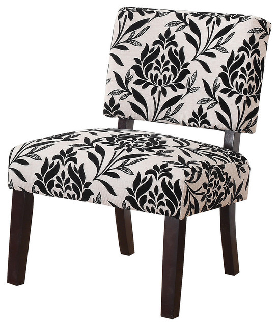 Willow Black Floral Upholstered Living Room Accent Chair