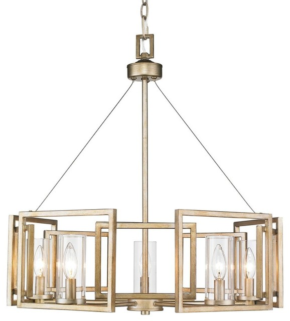 5-Light White Gold Chandelier With Clear Glass