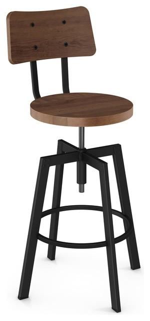 Wondrous Woodland Distressed Seat Screw Stool Textured Black Medium Brown Bralicious Painted Fabric Chair Ideas Braliciousco