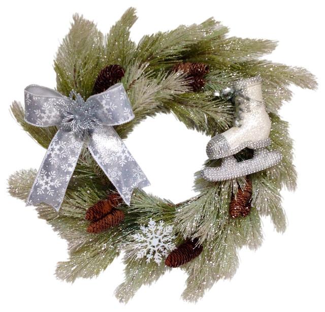 Glittering Pine Cone Skating Winter Wreath Handmade Deco Mesh Limited Edition.