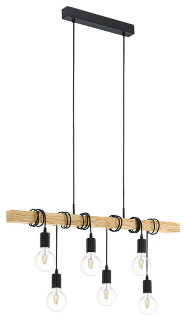 Townshend Wood and Black 6-Light Bar Pendant Light