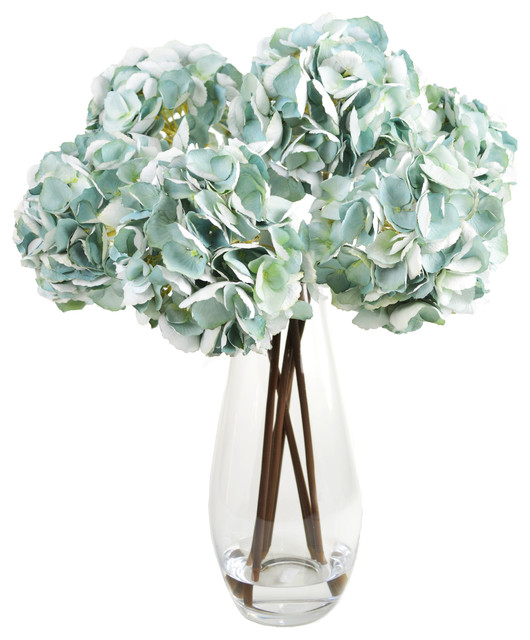 Teal Hydrangea Cluster In Glass Vase Contemporary